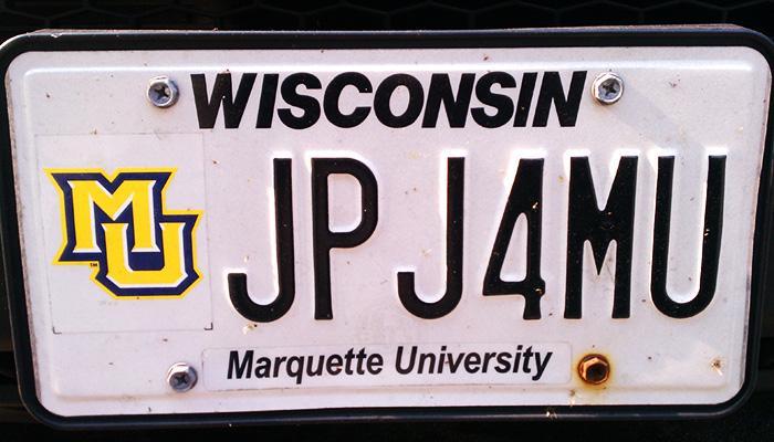 JPJ4MU Marquette University license plate