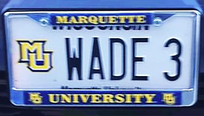 WADE 3 Marquette University license plate