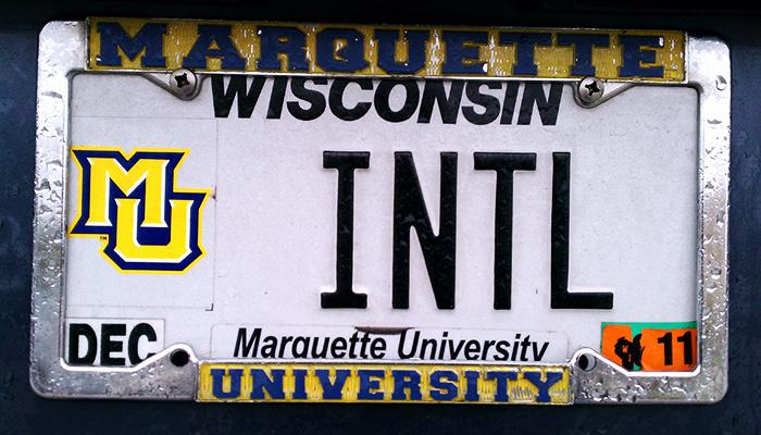 INTL Marquette University license plate