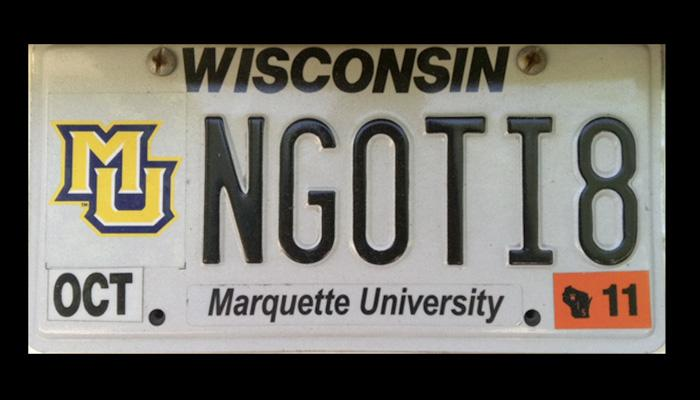 NG0TI8 Marquette University license plate