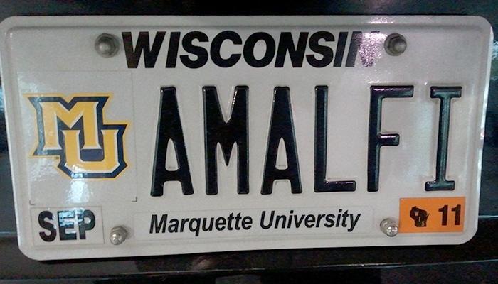 AMALFI Marquette University license plate