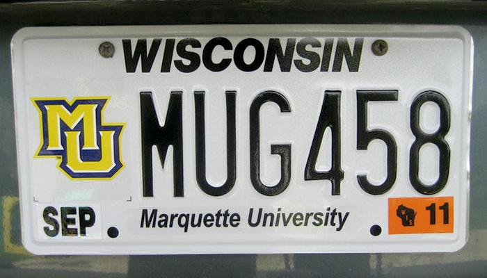 MUG458 Marquette University license plate