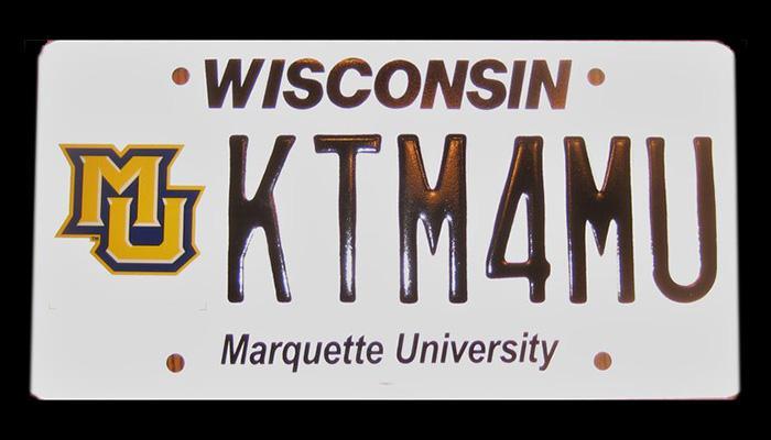 KTM4MU Marquette University license plate