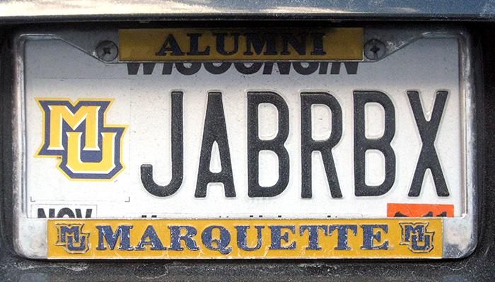 JABRBX Marquette University license plate