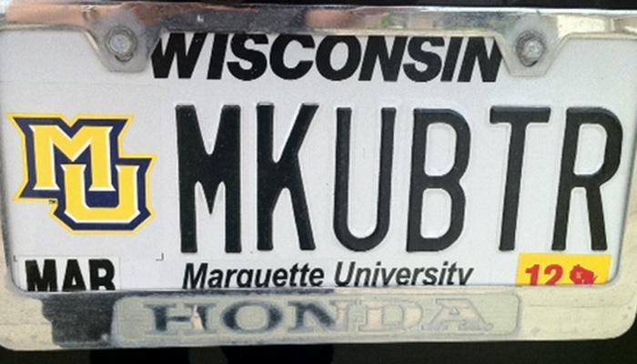 MKUBTR Marquette University license plate