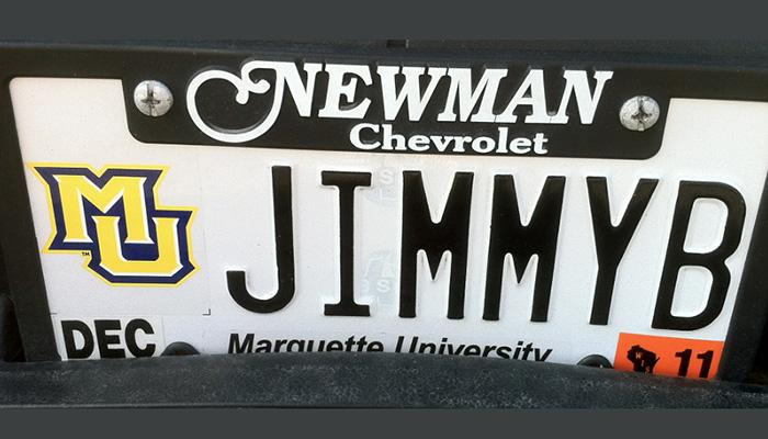 JIMMYB Marquette University license plate