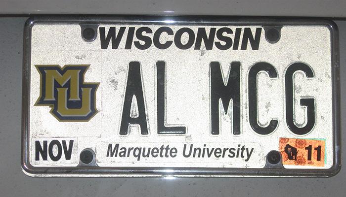 AL MCG Marquette University license plate