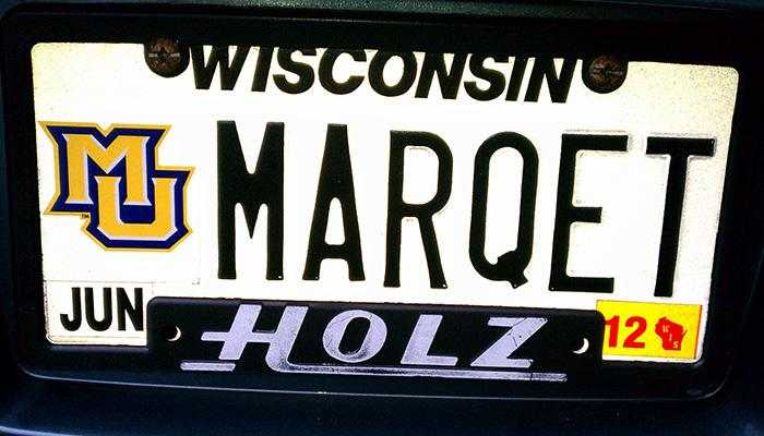 MARQET Marquette University license plate