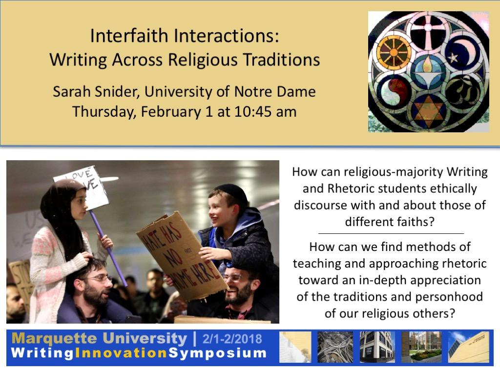 Interfaith interactions: writing across religious traditions