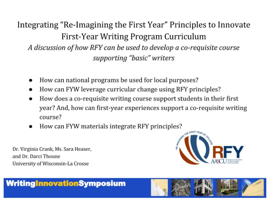 Curriculum of re-imaging the first year principles