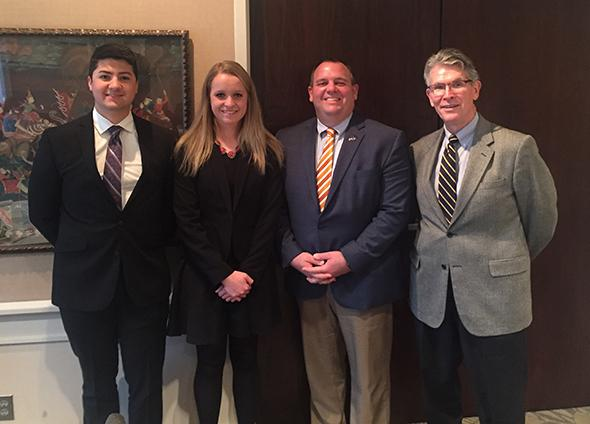 Commercial Banking students and Dr. Belasco meet with Senator David Craig as the Wisconsin Legislature announces measures to support financial education