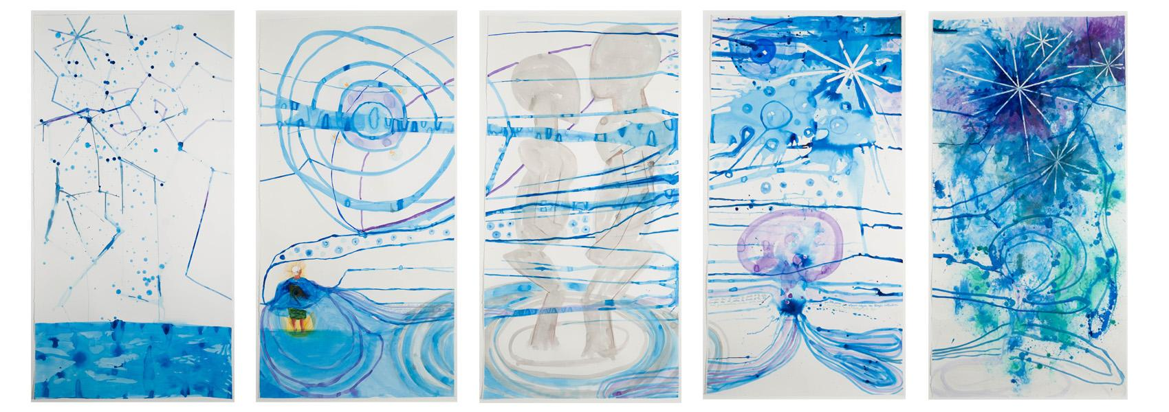 She Always Knew of the Space In-Between 2019 Gouache, Watercolor, Acrylic Ink, Peacock Feather on Paper, Each 66 1/4 x 35 1/4 inches Courtesy of the Artist and Gallery Wendi Norris