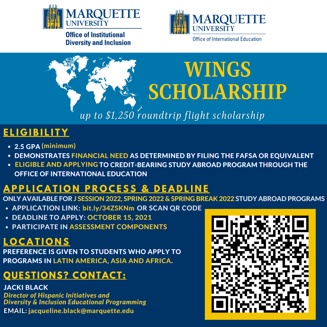 Check out the Wings Scholarship! Apps due October 15, 2021.