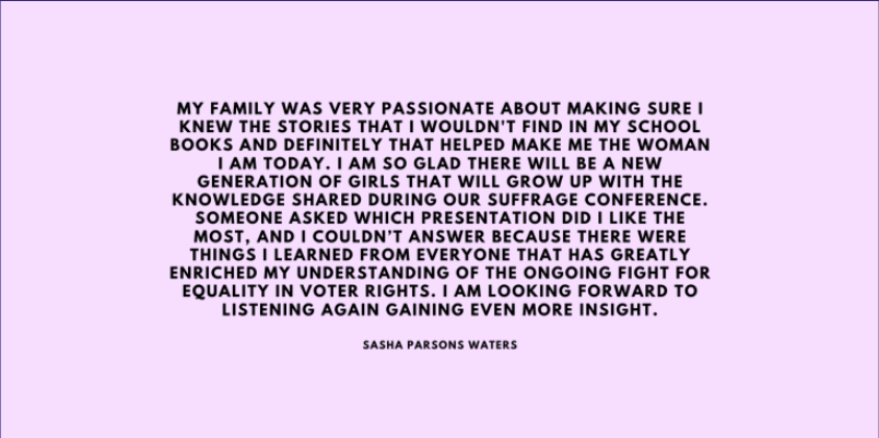 Sasha Parson Walters Reflects on the Suffrage Conference
