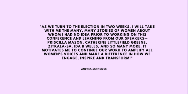 Andrea Schneider Reflects on the Suffrage Conference