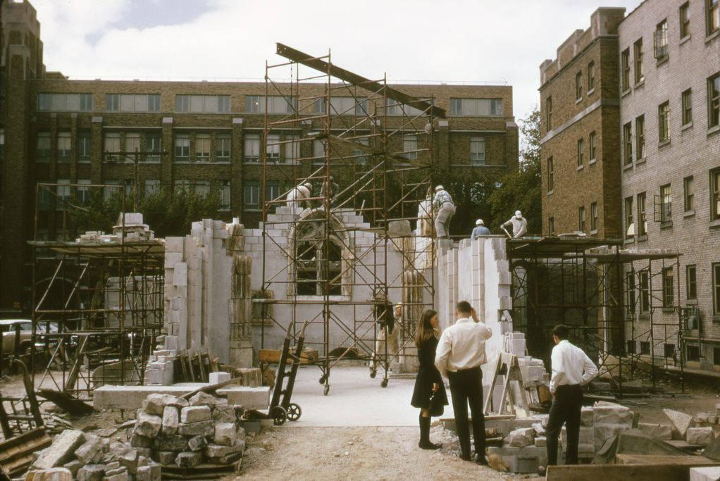 Work progresses on the reconstruction of the St. Joan of Arc Chapel at Marquette, 1966.