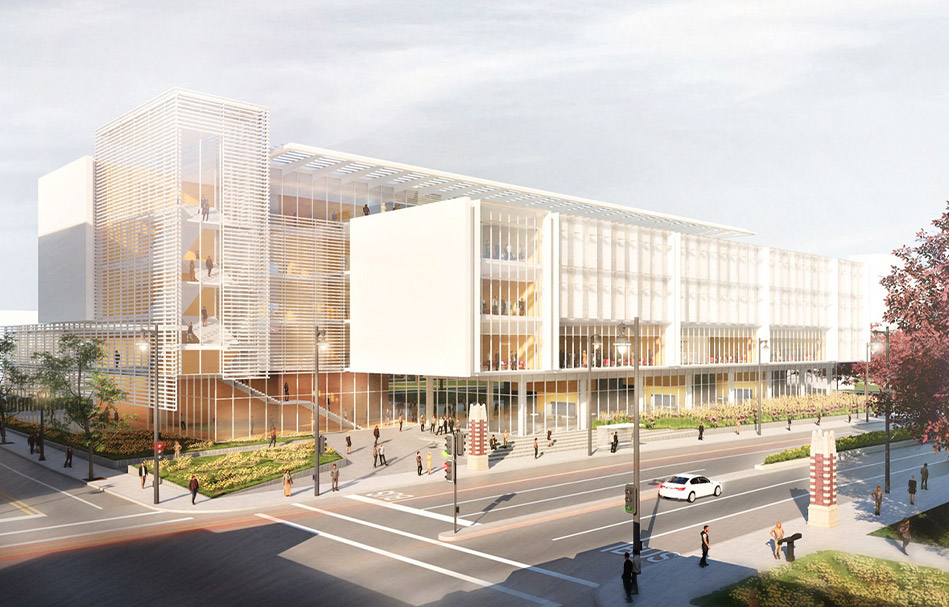 The main entrance to Marquette's new Business facility at 16th and Wisconsin. Renderings courtesy of BNIM.