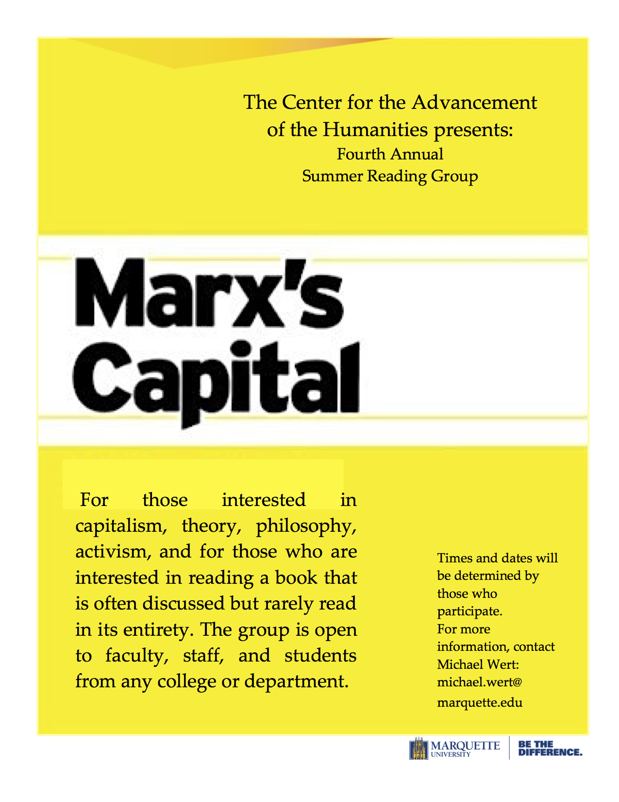 Marx Capital Reading Group flyer