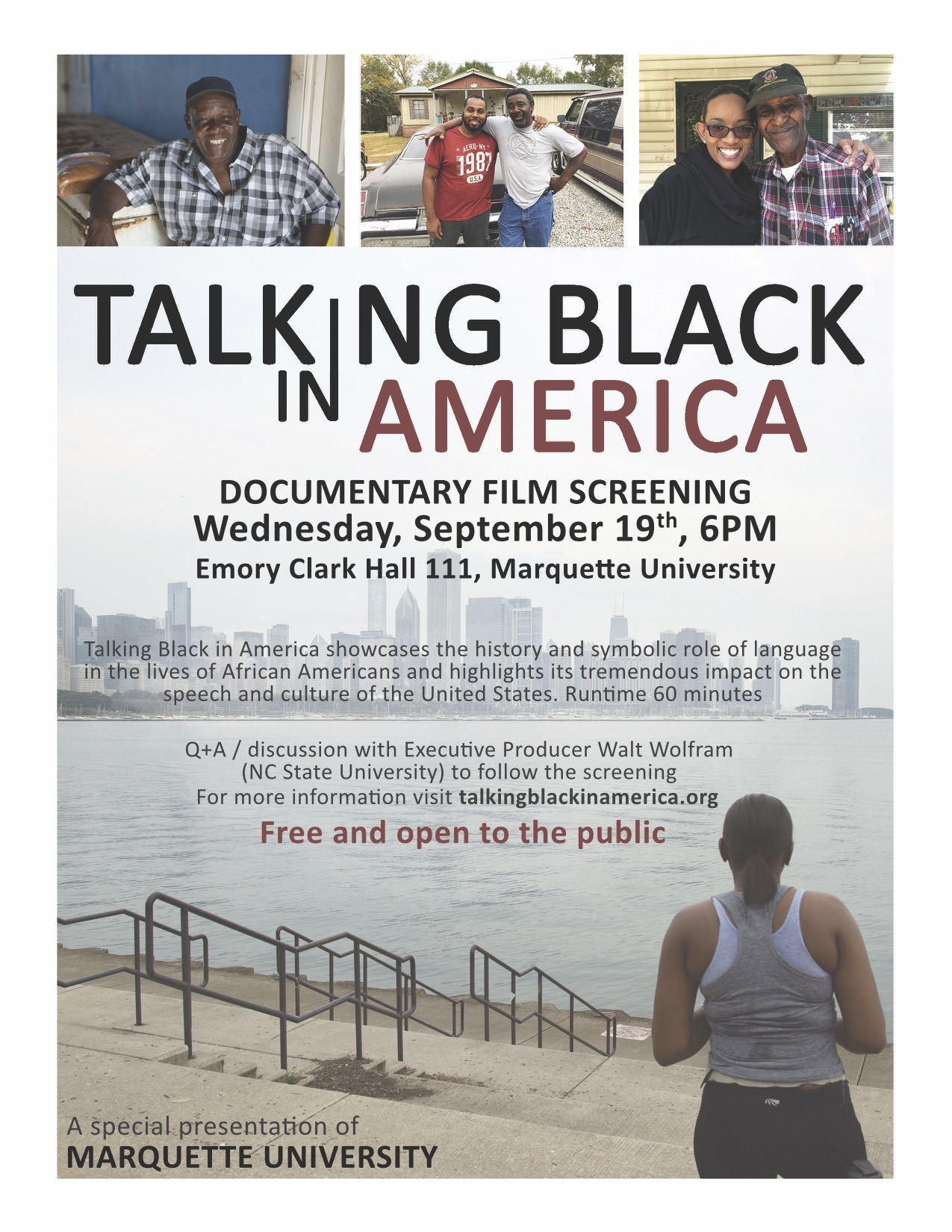 flyer for Dr. Wolfram's film screening, Talking Black in America