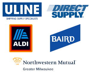 accelogix, Direct supply, pwc, uline logos