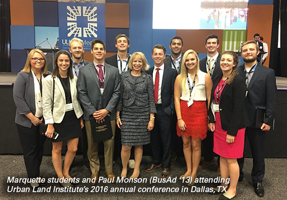 Marquette students and alumnus Paul Monson attending Urban Land Institute 2016 conference