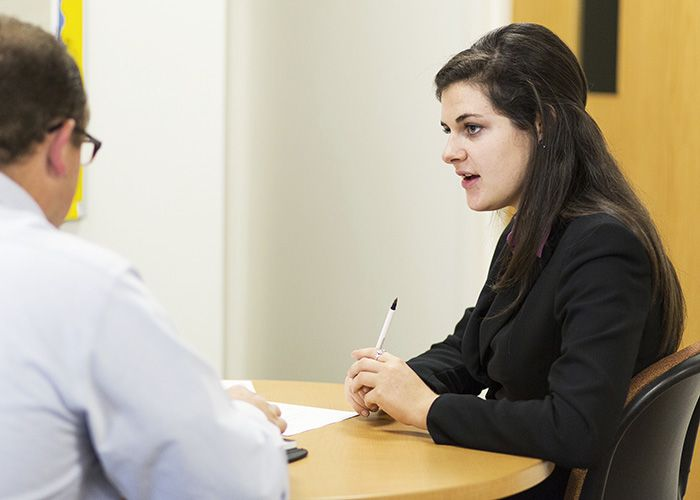 Student meets for an appointment at the Career Services Center