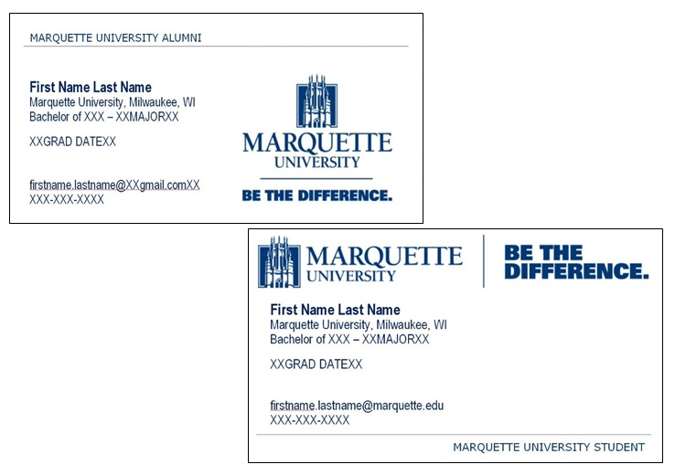 Student and Alumni Marquette Themed Business Cards