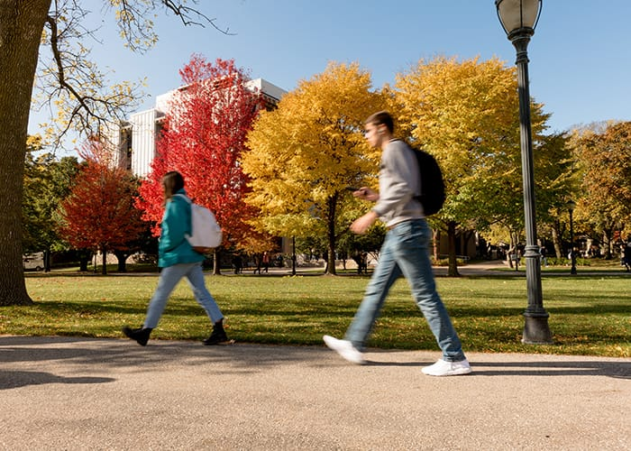 Students walking on Marquette University's Central Mall
