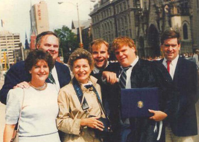 Chris Farley with his family at Marquette