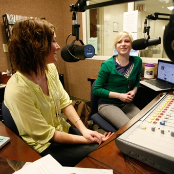 Students in Marquette Radio booth