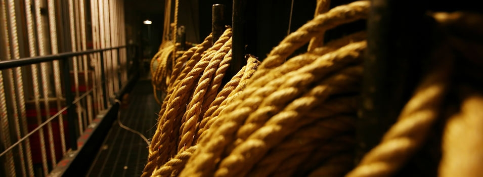 backstage image of ropes used to handle scenery