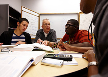 Students in a study group on the Marquette campus