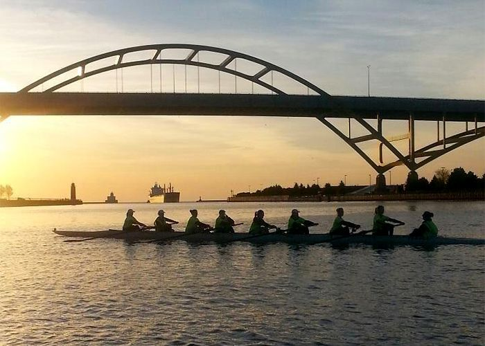 Marquette women's crew rowing near Milwaukee's Hoan Bridge