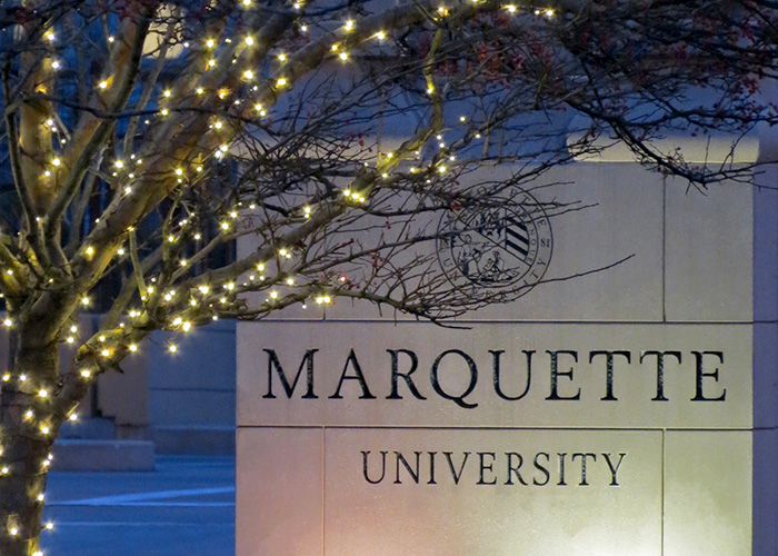 Christmas lights at Marquette University