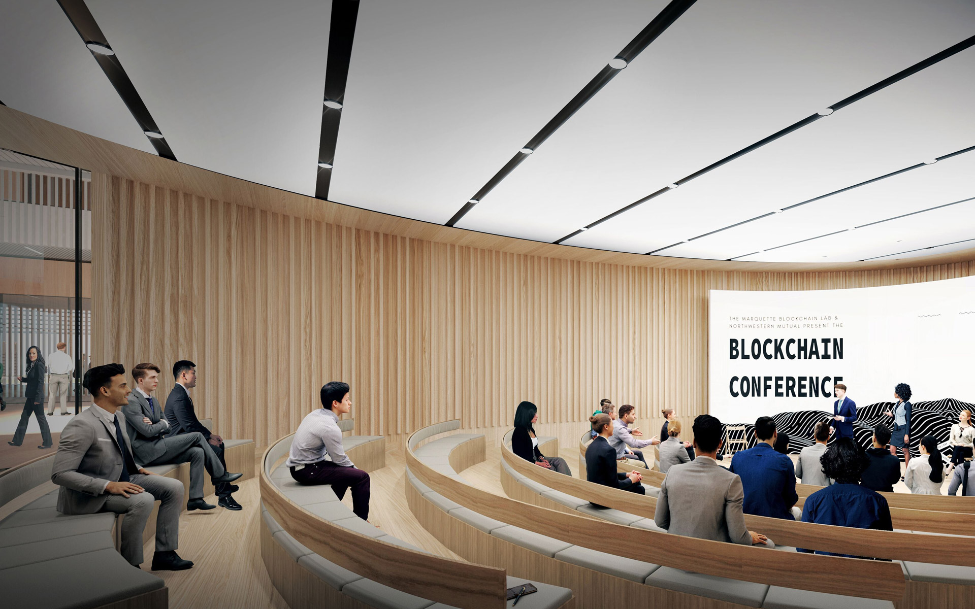 A rendering of a conference room inside the new Marquette Business facility.