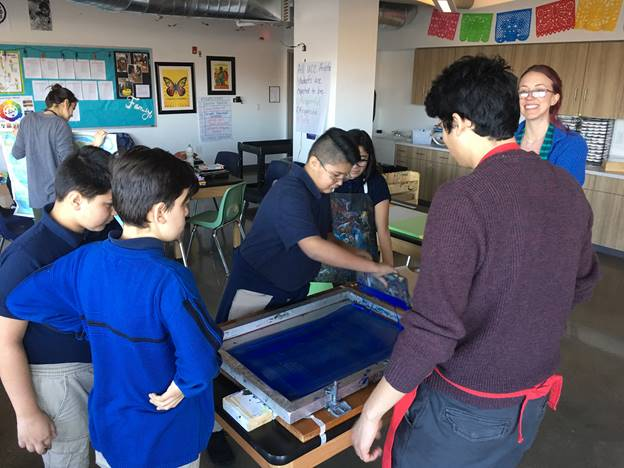 AMS students silkscreening word clouds