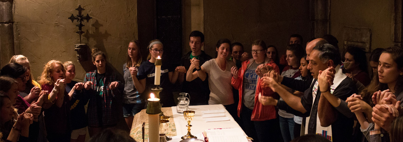 Students participating in Tuesday mass in the St. Joan of Arc Chapel