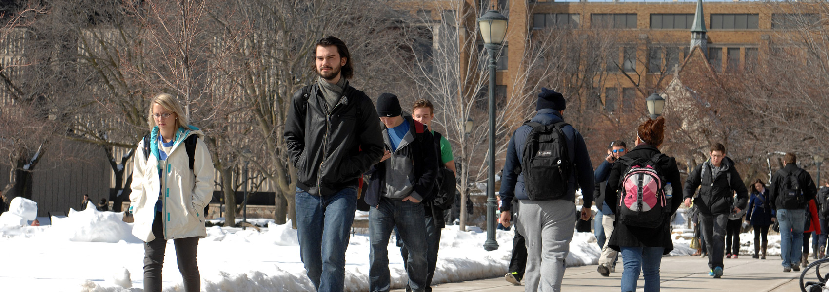 Students walking in the Marquette University Central Mall
