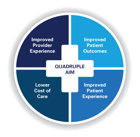Quadruple Aim Graphic: Improved Provider Outcomes, Improved Patient Outcomes, Improved Patient Experiences, Lower Cost of Care