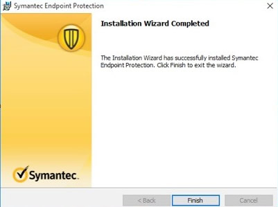 The Wizard has successfully installed Symantec. Select Finish to exit.