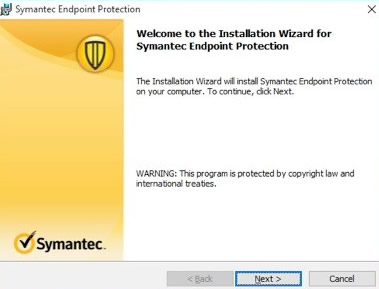 The installtion Wizard will install Symantec. Select Next to continue.