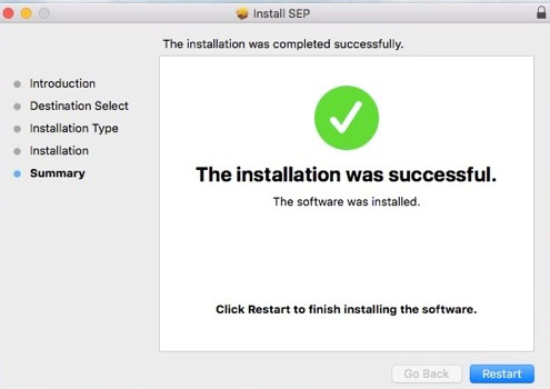 The installation was successful. Click Restart to finish installing the software.