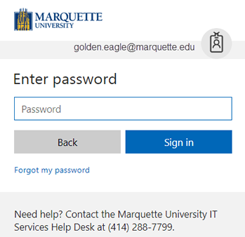 Enter your password. There is a Sign in and a Back button.