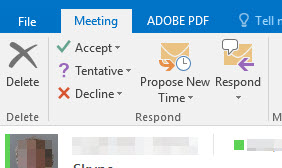 Click the meeting tab on the ribbon and accept, tentative, or decline.