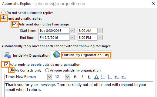Make selections for automatic replies to emails from outside the MU network.
