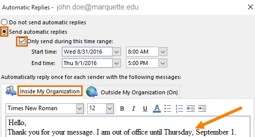 Select options for Out of Office for replies to emails on the MU network.