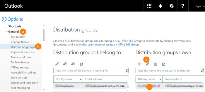 Distribution lists you belong to and distribution groups you own show in the middle pane.