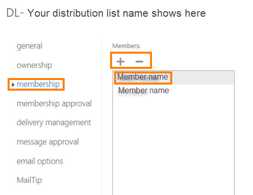 Select membership on the left pane and + to add a name in the middle pane.