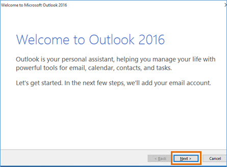 Welcome to Outlook window