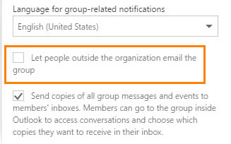 Select: Let people outside the organization email the group
